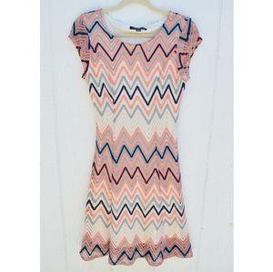 3 for $25Chevron long peach grey black creme dress